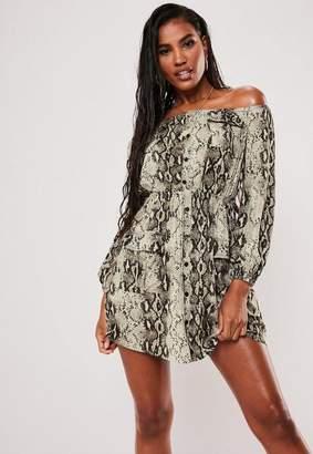 Missguided Gray Snake Print Bardot Cargo Pocket Dress