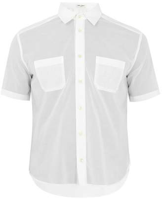 Saint Laurent Patch Pocket Short Sleeved Cotton Shirt - Mens - White