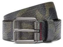 HUGO Boss Camouflage-print belt in grainy Italian leather 34 Patterned