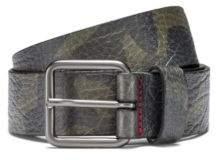 HUGO Boss Camouflage-print belt in grainy Italian leather 36 Patterned