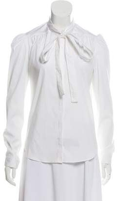 Burberry Tie-Neck Long Sleeve Button-Up