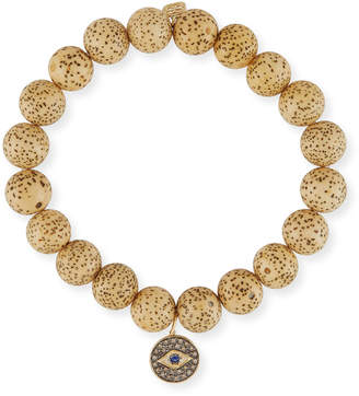 Sydney Evan Lotus Seed Beaded Bracelet w/ 14k Diamond Evil Eye Charm