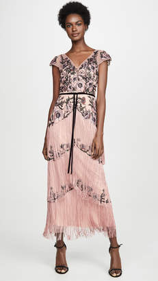 Marchesa Cap Sleeve Embroidered Fringe Gown