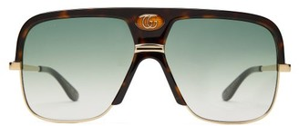 Gucci Gg Aviator Frame Tortoiseshell Acetate Sunglasses - Mens - Tortoiseshell