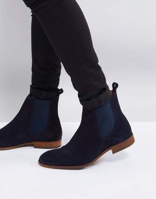 Zign Shoes Suede Chelsea Boots In Navy