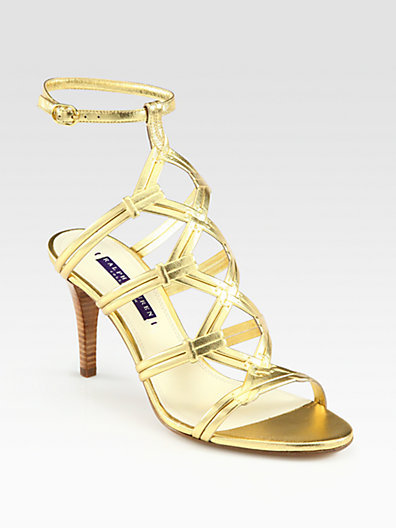 Ralph Lauren Arabelle Metallic Leather Ankle Strap Sandals