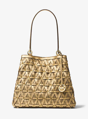 Michael Kors Brooklyn Large Metallic Leather And Canvas Tote