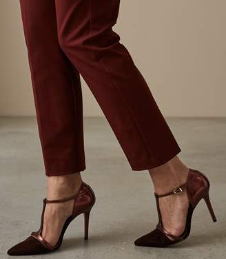 Reiss Josephine - Suede Point Toe T-bar Heels in Burgundy