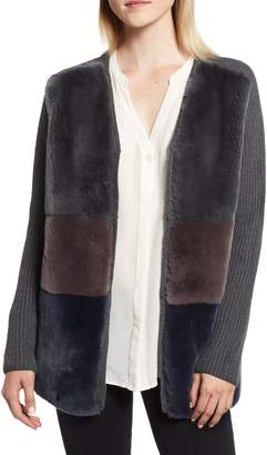 Belle Fare Knit & Genuine Rabbit Fur Jacket