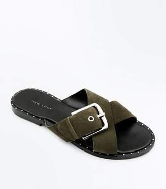 New Look Khaki Suede Cross Strap Studded Sliders