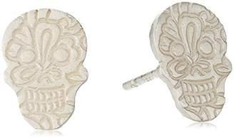 Me & Ro Me&Ro Sterling Paisley Skull Stud Earrings