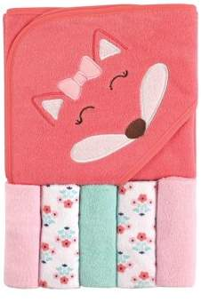 Luvable Friends Baby Hooded Towel with 5 Washcloths, Girl Fox