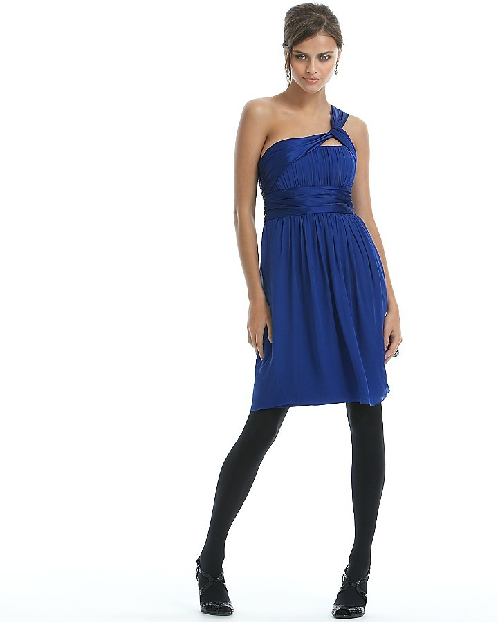 Marc Bouwer Glamit! Short One Shoulder Silk Chiffon Dress