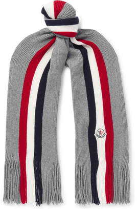 Moncler Striped Fringed Virgin Wool Scarf