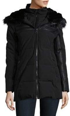 GUESS Faux Fur Trim Long Sleeve Puffer Jacket