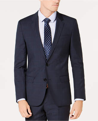 HUGO BOSS Men's Slim-Fit Blue Plaid Wool Suit Jacket