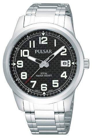 PULSAR Men's Pulsar Calendar Watch - Silver Tone with Black Dial - PXHA07X