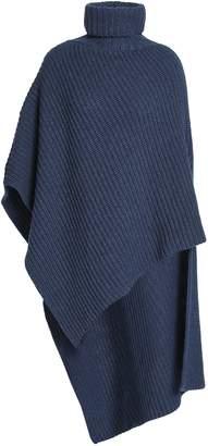 Agnona (アニオナ) - Agnona アシンメトリー リブ編み カシミヤ タートルネックポンチョ