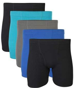 Gildan Men's Assorted Covered Waistband Boxer Brief Underwear, 5-Pack