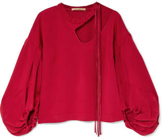 Hellessy Sloane Cutout Satin-twill Blouse - Red