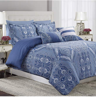 Tribeca Living Atlantis 300 Thread Count Cotton Oversized King Duvet Cover Set Bedding