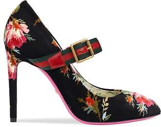 Gucci Women's Sylvie Velvet Mary Jane Pumps
