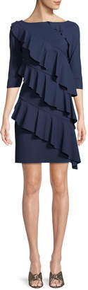 Chiara Boni Isete Ruffled 3/4-Sleeve Cocktail Dress