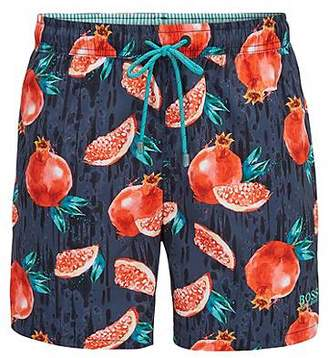 HUGO BOSS Quick-dry swim shorts with tropical fruit print