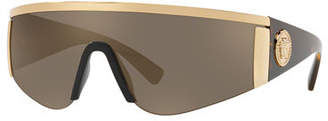 Versace Men's Plastic Mirror Shield Sunglasses with Metallic Trim