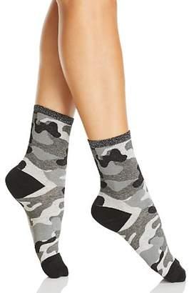 Hue Metallic Top Camo Shortie Socks