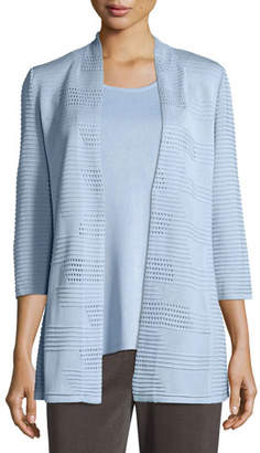 Misook Textured 3/4-Sleeve Hook-Front Knit Jacket, Petite
