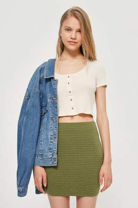 Topshop Textured Pull On Skirt