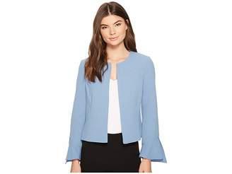 Tahari ASL Crepe Open Front Jacket w/ Tulip Sleeve Women's Coat