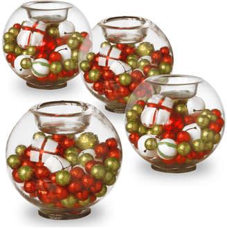 National Tree Set of Four Christmas Glass Candleholders
