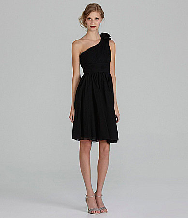 JS Collections One-Shoulder Chiffon Dress