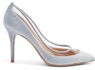 Valentino Glassglow Velvet And Plexi Pumps - Womens - Light Blue