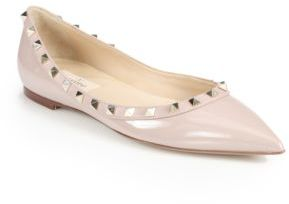 Valentino Rockstud Patent Leather Ballet Flats $745 thestylecure.com