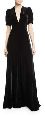 Jill Stuart Velvet Puff-Sleeve V-Neck Gown