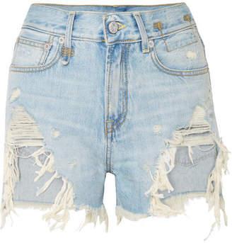 R 13 Distressed Denim Shorts - Light denim