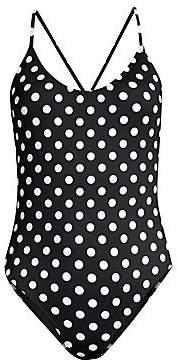 Caroline Constas Women's Polka Dot One-Piece Swimsuit