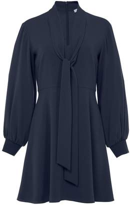 Tibi Savanna Crepe Gibson Tie Dress in Midnight Navy