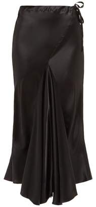 Ann Demeulemeester Drawstring Waist Flared Silk Satin Skirt - Womens - Black
