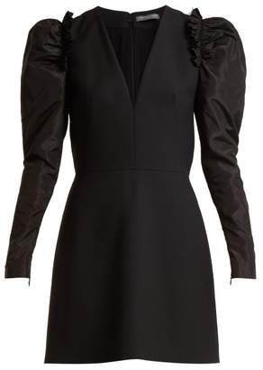 Alexander McQueen V Neck Wool Blend Dress - Womens - Black