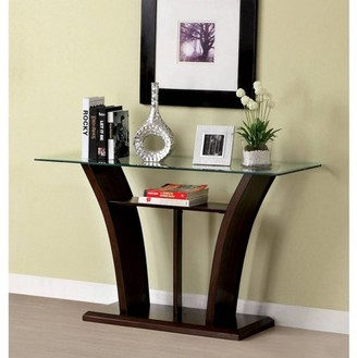 Panna Furniture of America Contemporary Glass Sofa Table, Multiple Colors