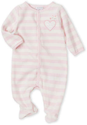 Absorba Newborn Girls) Pink Stripe Velour Footie