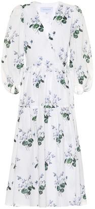 Les Rêveries Floral cotton midi wrap dress