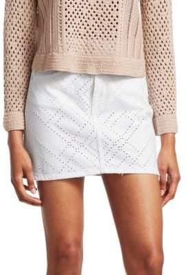 Jonathan Simkhai Eyelet Denim Mini Skirt