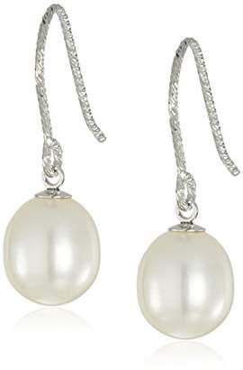 Bella Pearl Diamond Cut Freshwater Pearl Silver Drop Earrings