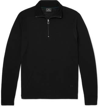 Paul Smith Slim-fit Piped Merino Wool Half-zip Sweater - Black
