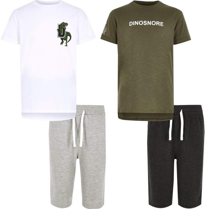 Boys White dinosaur pyjama set multipack